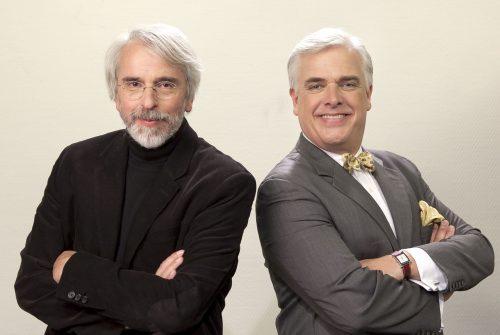 Portraits de Philippe Delerm et Frédérik Gersal pour les Timbrés de l'orthographe.