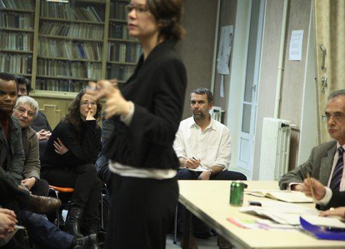 Réunion avec le staff de campagne dans le 9ème arrondissement, le 28/01/08.